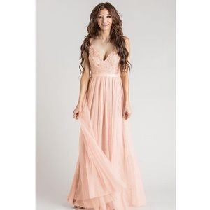 Dresses & Skirts - Blush embroidered tulle gown